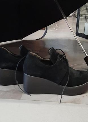 Туфли женские на танкетке из натурального замша