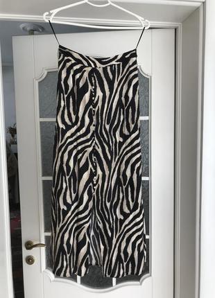 Анималистическая юбка зебра вискоза высокая талия