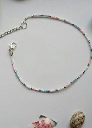 Чокер из бисера пастельные цвета, нежный, стильный, лето,  тренд 2020, ожерелье!