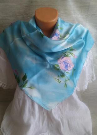 Голубой платок 100% шелк