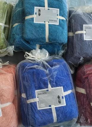 Комплект полотенец микрофибра серый в подарочном мешочке,цвета разние