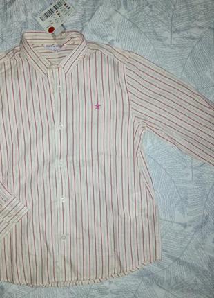 Хлопковая рубашка в полоску на мальчика