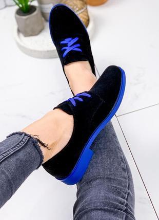 Туфли женские wings черный + синий замша