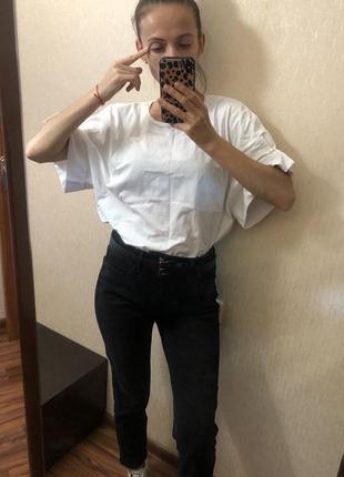 Котоновая белая футболка zara с бусинами размер onesize s m l3 фото