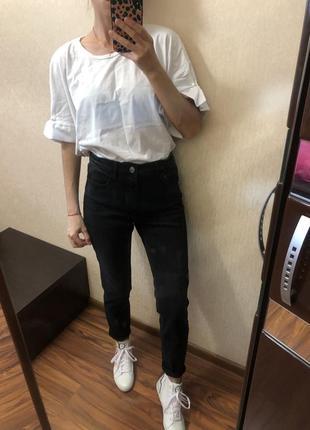 Котоновая белая футболка zara с бусинами размер onesize s m l6 фото