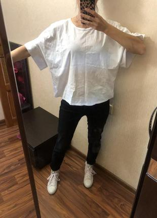 Котоновая белая футболка zara с бусинами размер onesize s m l5 фото