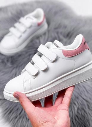 Новые женские белые кеды на липучках с розовым задником