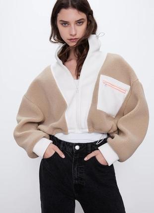 Zara комбинированная куртка с искусственной овчиной