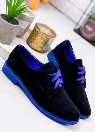 Новые женские черные с синим замшевые туфли оксфорды