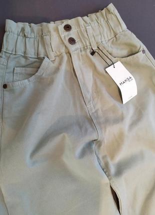Штаны джинсы багги фисташковые