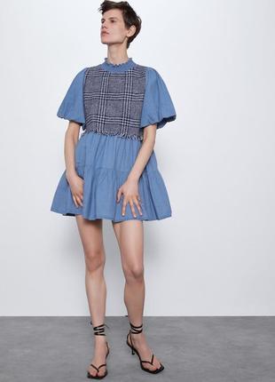 Платье zara с комбинированными джинсовыми деталями