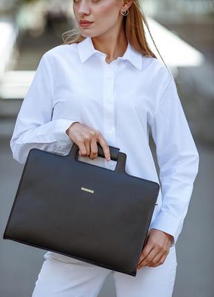 Новая женская кожаная сумка для ноутбука и документов черная