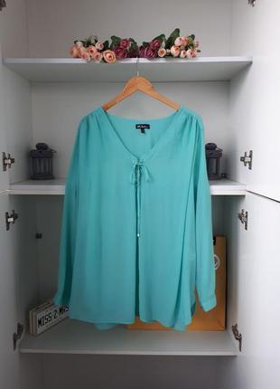 Бирюзовая блузка длинный рукав вискоза ulla popken
