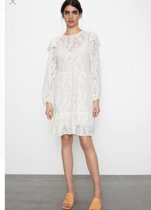 Zara кремовое новое! кружевное платье вышитое цвет экрю размер s