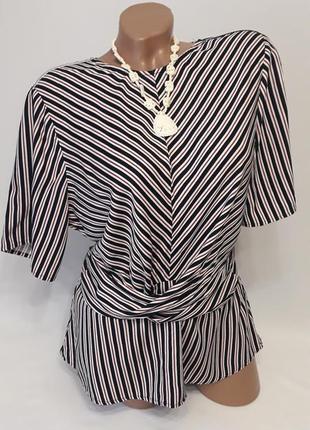 Блуза рубашка кофточка в тонкую вертикальную черно-бордовую полоску с широким поясом, 16