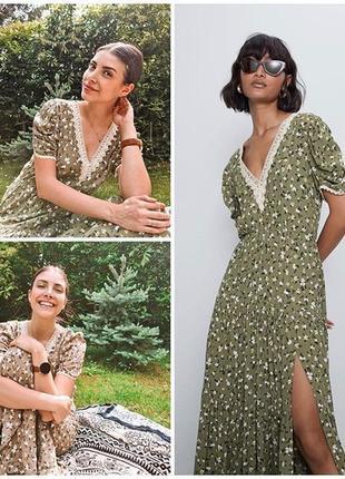 Zara платье в цветочный принт, xs8 фото