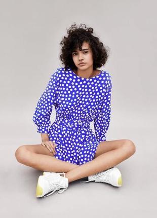 💙 на подростка синее платье в горох от zara {размер xs-s}💙