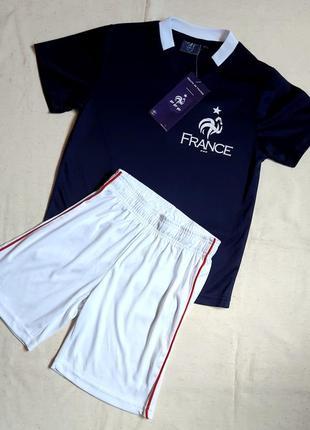 """Профессиональная футбольная форма синяя футболка и белые шорты """"sun city"""" франция на 6 лет"""