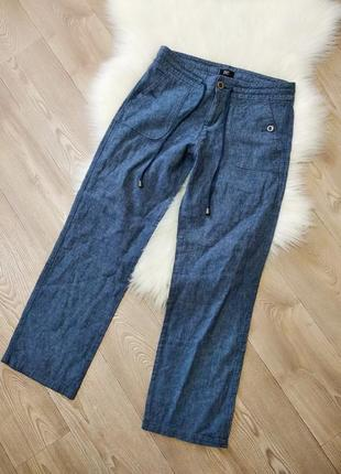 Льняные штаны брюки из натурального льна лён свободные хб