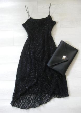 Платье style чёрное блестящее люрекс кружево вечернее кружевное коктейльное гипюр