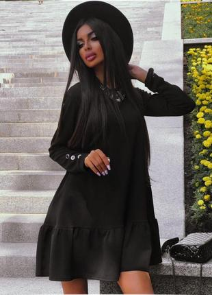 Платье креп дайвинг с рукавом пышное