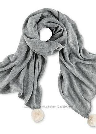 Шикарный вязаный шарф-шаль от тсм tchibo германия, 175 на 60см