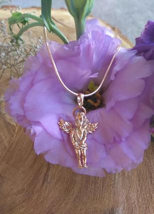 Подвеска ангел с цепочкой медицинское золото
