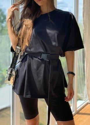 """Модный костюм с футболкой свободного кроя и велосипедками """" rocco"""", черный"""