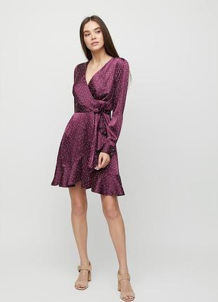 Платье атласное шелковое на запах cardo
