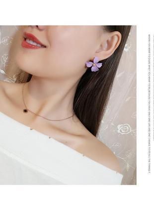 Супер нежные серьги лиловый цветок