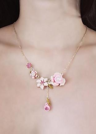 Колье розовые цветы ожерелье розовое вечернее золотое кулон les nereides