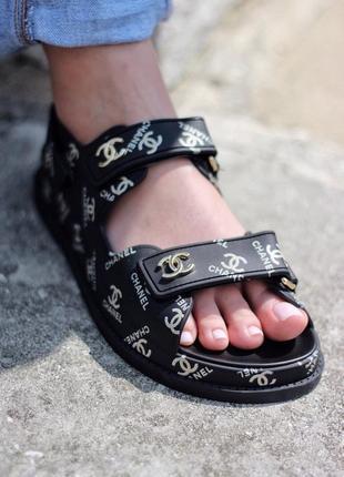 Chanel sandal bone black чёрные женские сандали наложенный платёж купить босоножки