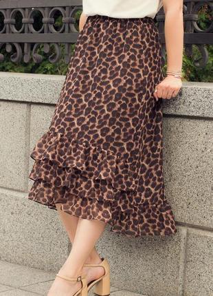 Леопардовая миди юбка с оборками