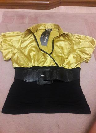 Блузка под пояс из трикотажа ишелка