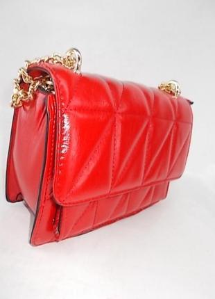 Женская сумка через плечо с ручкой цепочкой №6678 красная