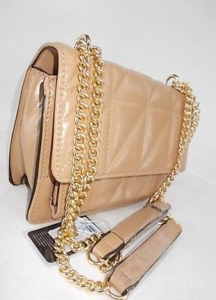 Женская сумка через плечо с ручкой цепочкой №6678 светло-коричневая