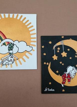 "Композиция из 2-х картин 〰️ ""детка конфетка"" 🌝🌙"