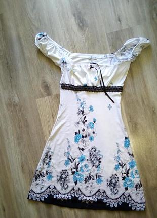 Трикотажный сарафан, платье на плечи в цветы