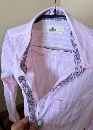 Розовая рубашка, летняя рубашка, в полосочку, блуза, блузка, футболка