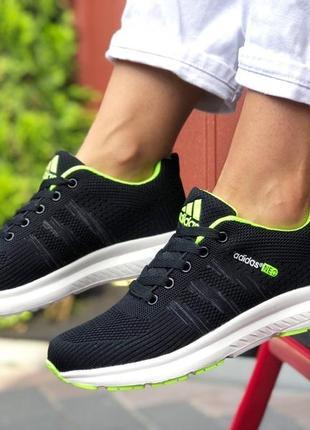 Adidas neo  🆕 женские кроссовки адидас 🆕 черные с салатовым