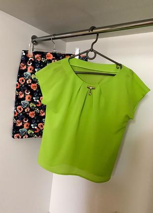 Летний яркий цветочный костюм юбка с высокой посадкой + блузка