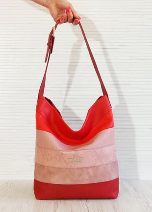 Полосатая сумка на плечо с одной ручкой красная экокожа(pu)