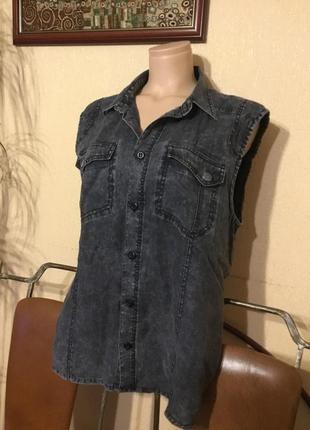 Фирменная рубашка блуза безрукавка лён варёнка