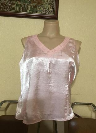 Фирменная майка блуза безрукавка в бельевом стиле атлас пудра