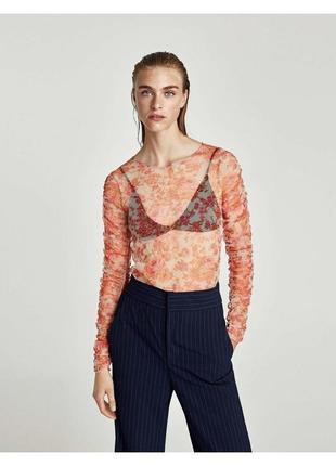 Кофта zara зара сетка в сетку топ блуза блузка прозрачная футболка в сеточку