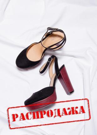 Замшевые босоножки на каблуке, закрытые босоножки на толстом каблуке, босоніжки