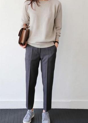 Базовые укороченные брюки штаны серые высокая посадка талия прямые zara h&m mango
