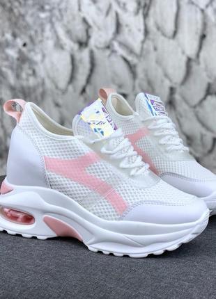 Новые женские белые с розовым кроссовки сникерсы
