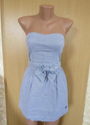 Летнее короткое фирменное платье  бюстье в полоску с открытыми плечами