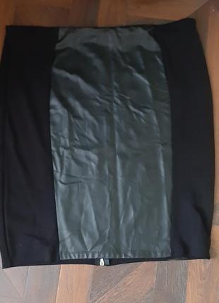 Юбка спідниця класична вставка еко кожа